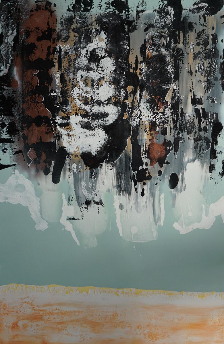 S4C1, Acrylique, Glycéro et spray sur médium, 120x80 cm. par Anne Solenn Chérat, Décoratrice UFDI, Artiste peintre sur Lorient, Vannes, Pontivy.