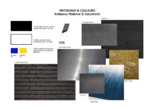 Book déco style Moderne - Industriel par Anne-Solenn Cherat, Décoratrice UFDI : Les planches matériaux présentent les différents matériaux et le code couleur qui vont composer l'intérieur. Elles peuvent être travaillées par photomontage ou faites à la main. Dans cet intérieur au style moderne et industriel, les matériaux bruts comme la brique, le métal et le bois ont la part belle. Les couleurs sombres comme le noir du mur en brique s'associent aux couleurs primaires que l'on retrouve dans les œuvres de Piet Mondrian. De plus, les teintes de jaune et de bleu sélectionnées évoque le Jardin Majorelle.