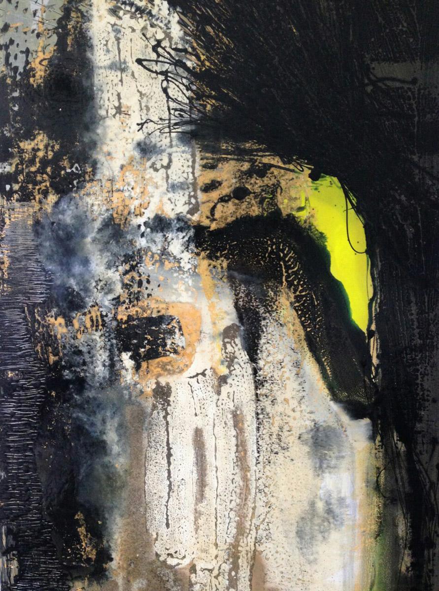 D1C1, Acrylique, Glycéro et spray sur médium, 120x80 cm. par Anne Solenn Chérat, Décoratrice UFDI, Artiste peintre sur Lorient, Vannes, Pontivy.