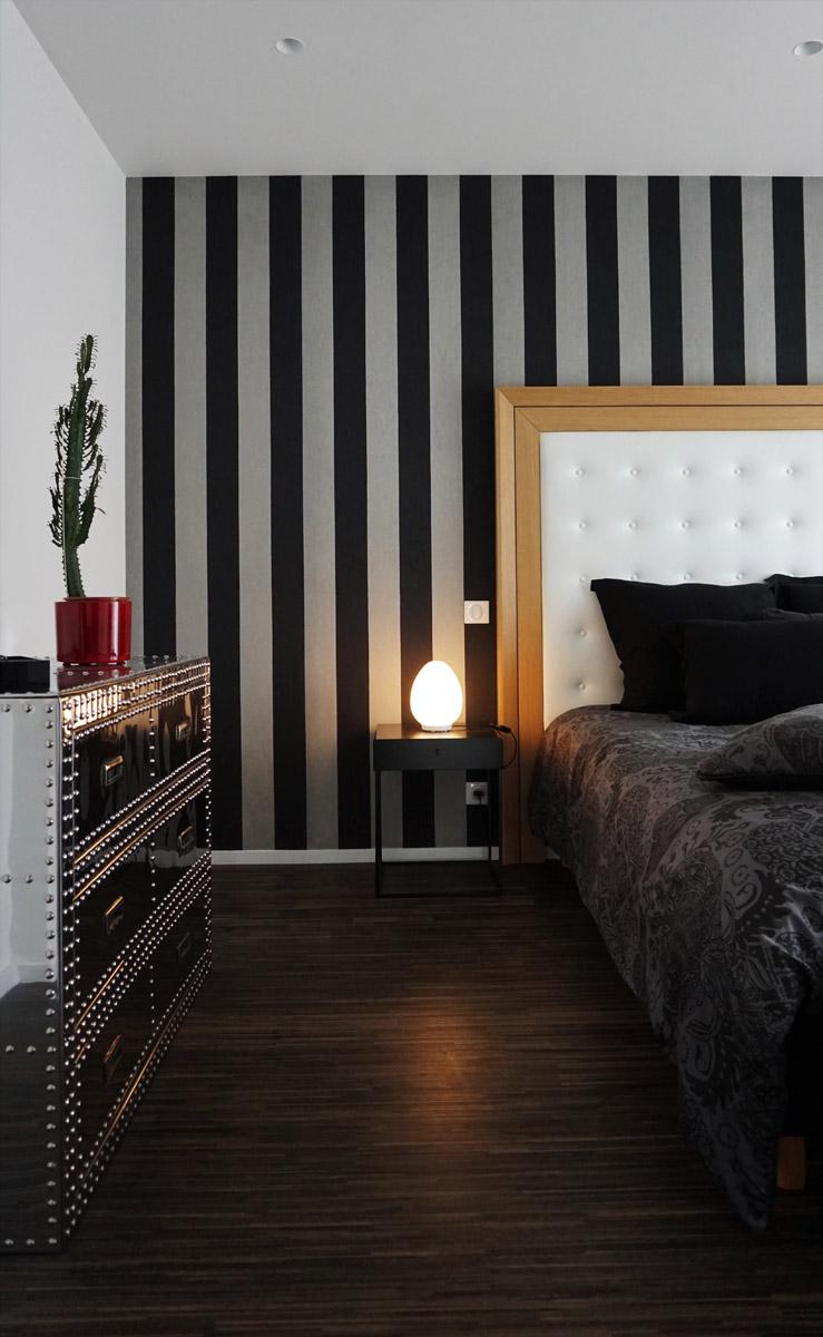 Chambre parentale dans un style Néo Art Déco par Anne Solenn Chérat, Décoratrice UFDI sur Lorient, Vannes, Pontivy