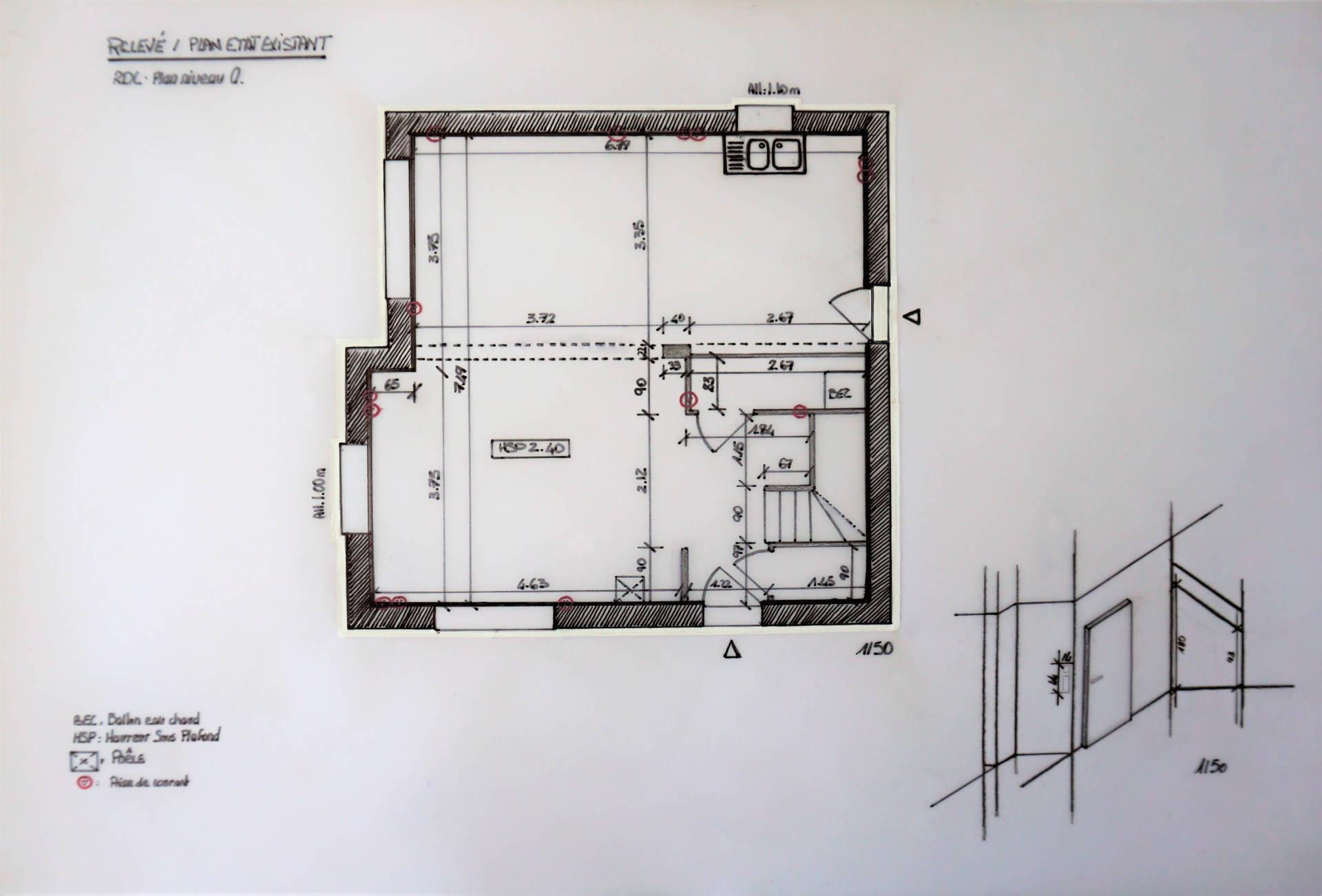 Plan état existant par Anne Solenn Chérat, Décoratrice UFDI sur Lorient, Vannes, Pontivy, pièce de vie