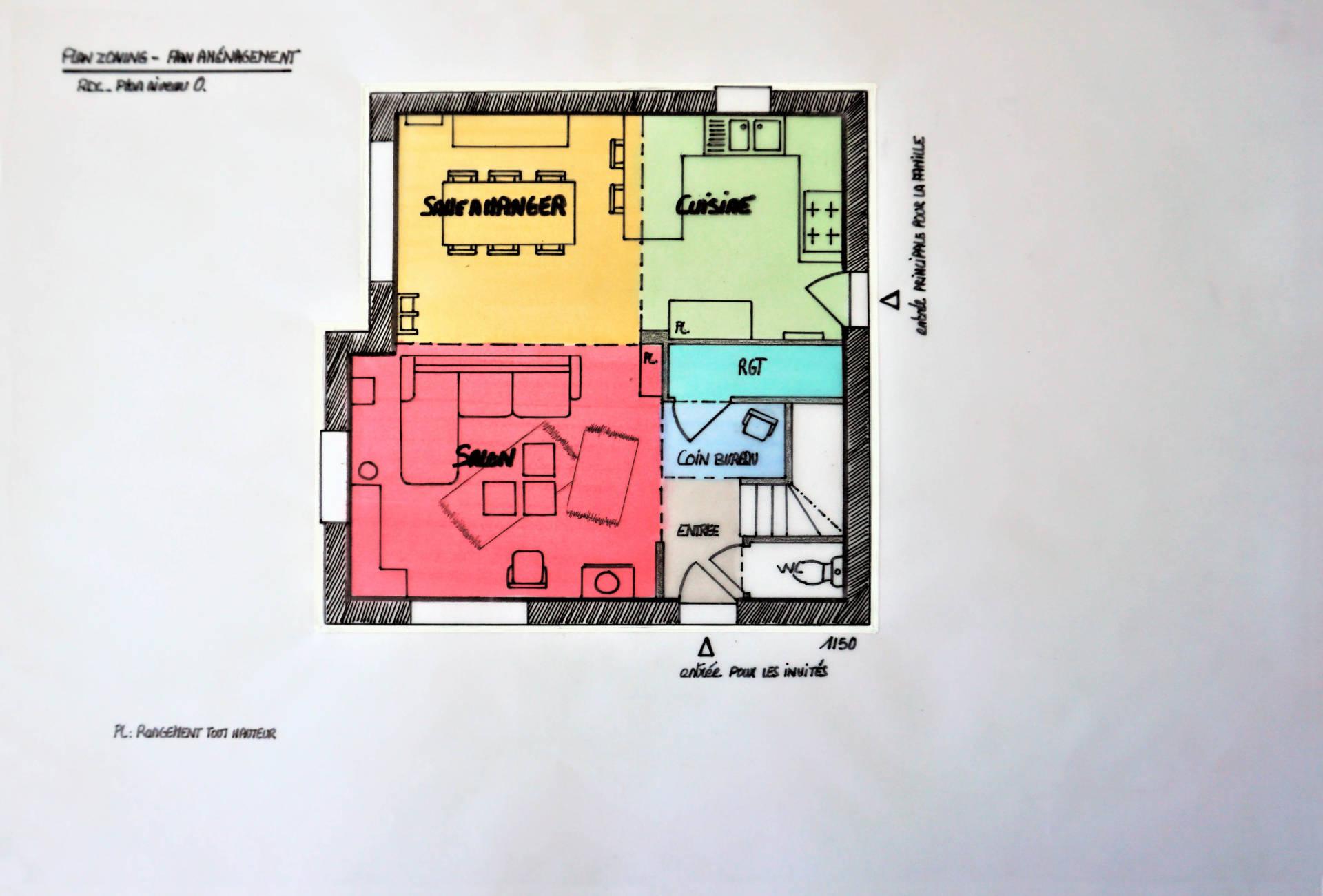 Plan aménagement par Anne Solenn Chérat, Décoratrice UFDI sur Lorient, Vannes, Pontivy, pièce de vie
