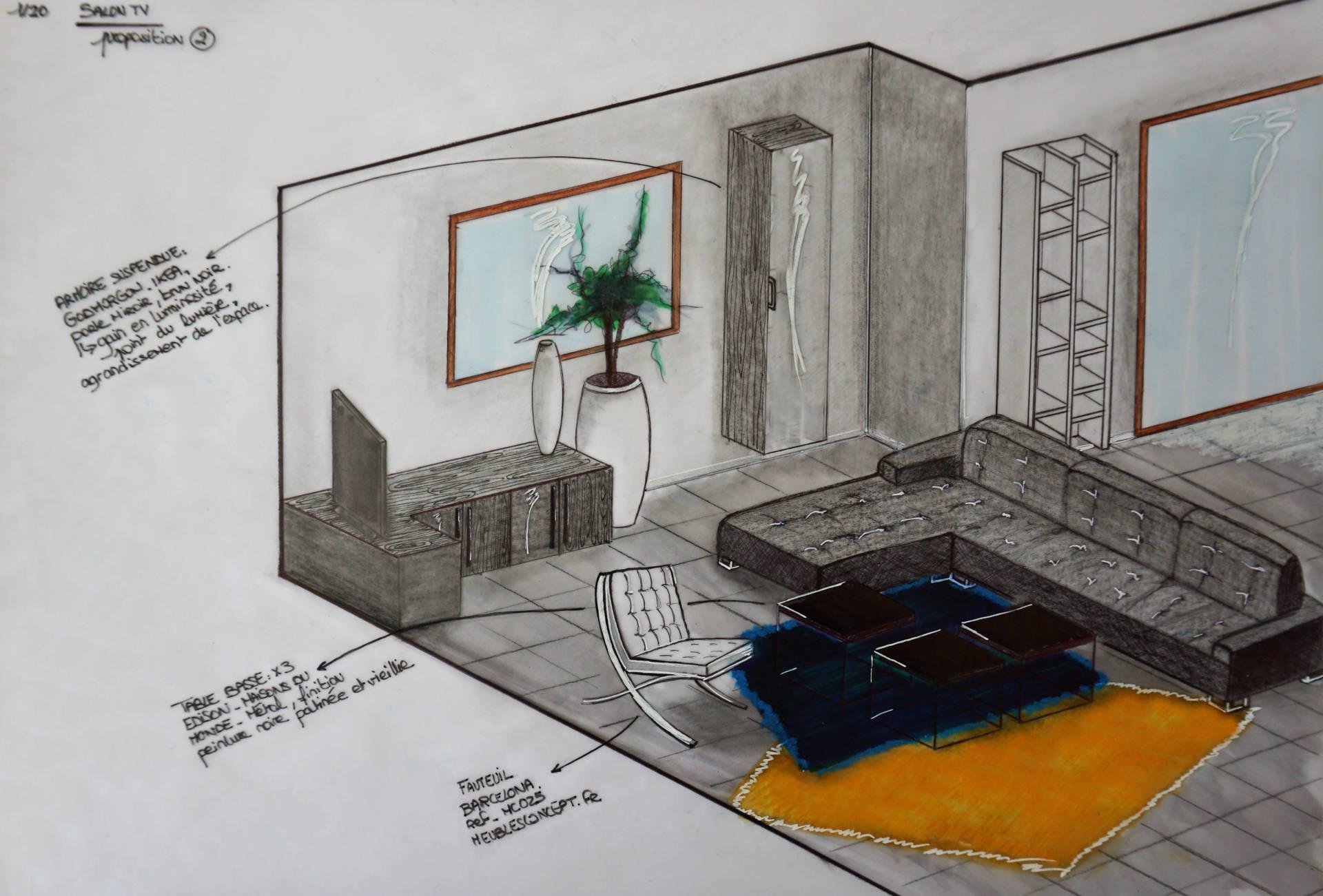 Croquis perspectif colorisé par Anne Solenn Chérat, Décoratrice UFDI sur Lorient, Vannes, Pontivy, pièce de vie
