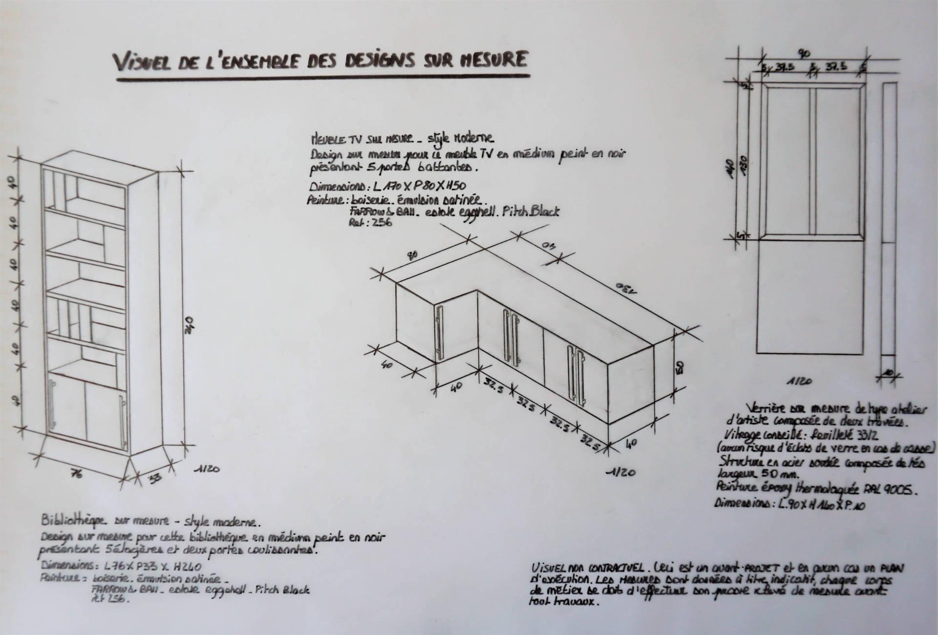 Plan coté agencement par Anne Solenn Chérat, Décoratrice UFDI sur Lorient, Vannes, Pontivy, pièce de vie