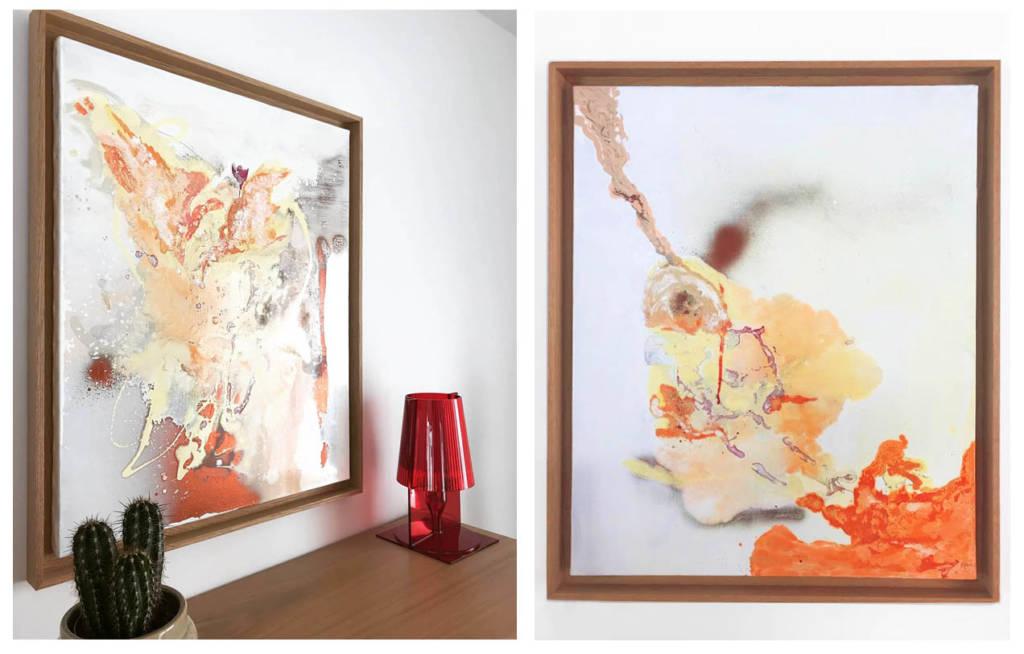 Tableaux Contemporains -Diptyque par Anne-Solenn Cherat Décoratrice UFDI et artiste peintre sur Lorient, Vannes, Pontivy.