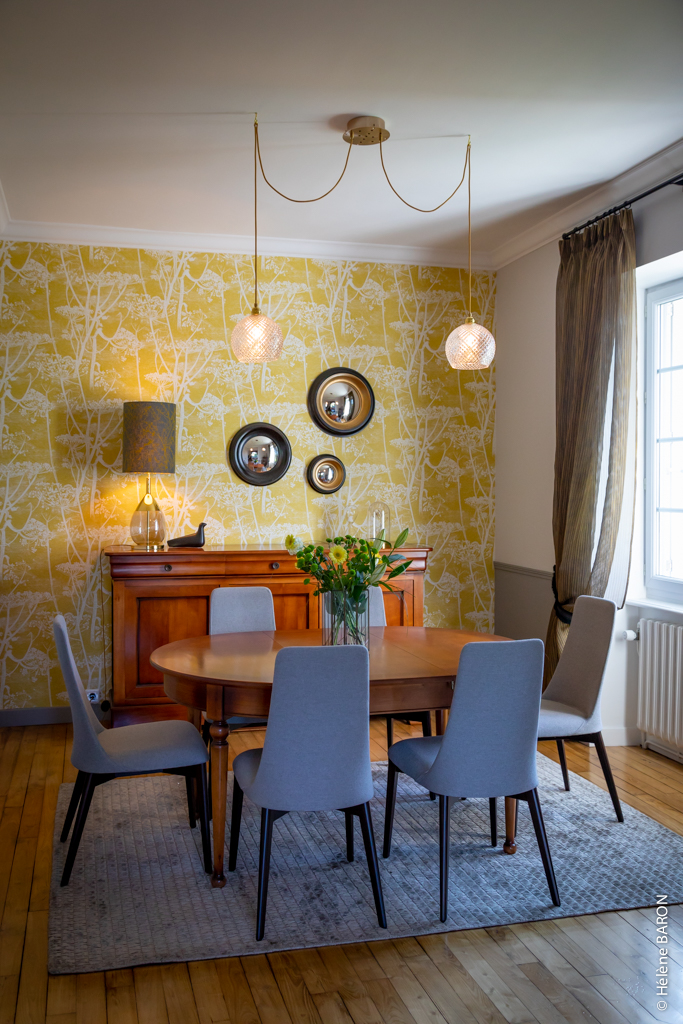 Décoration d'une maison de charme à Pontivy par Anne Solenn Chérat, Décoratrice UFDI sur Lorient, Vannes, Pontivy : la salle à manger