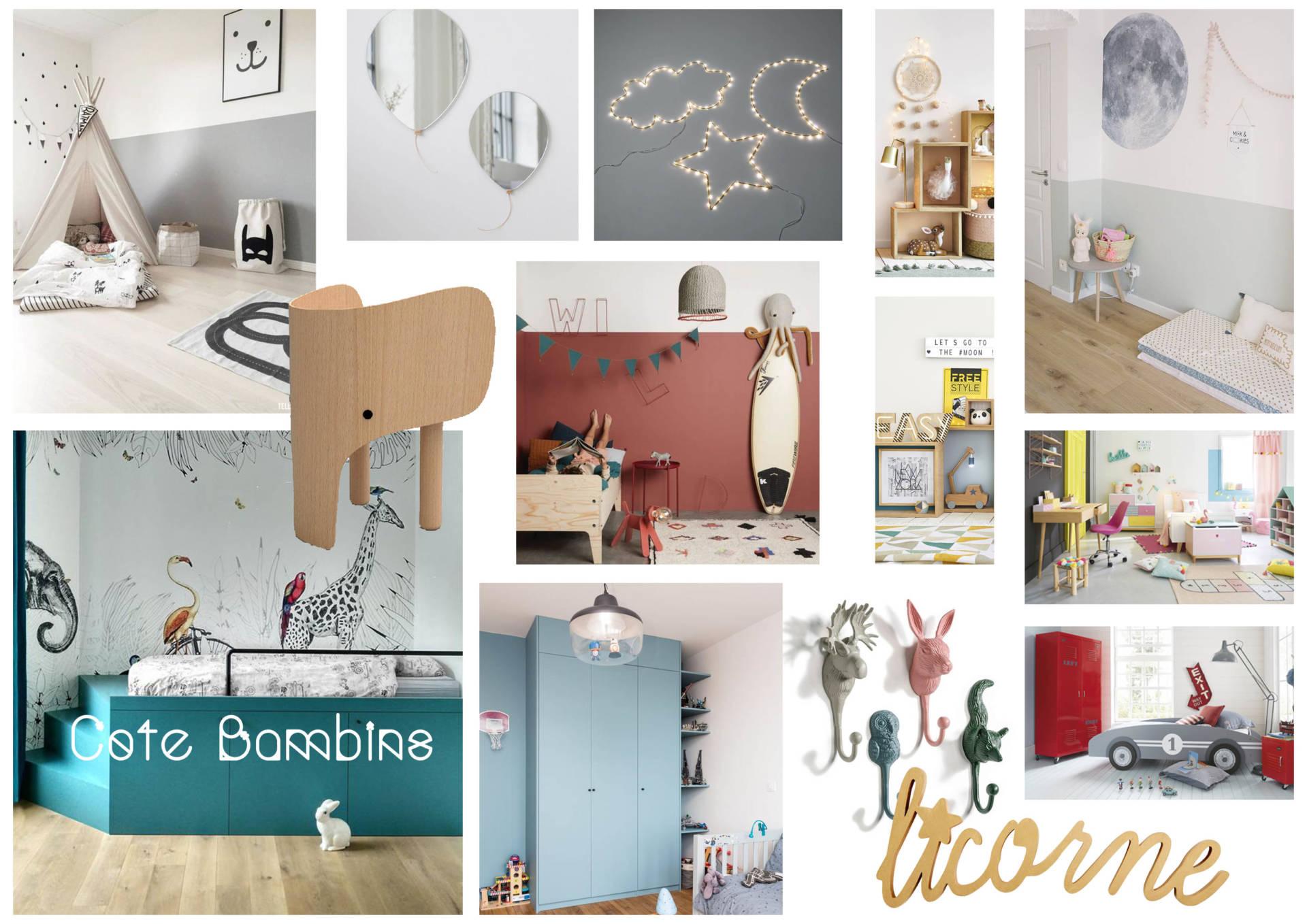 Moodboards chambre enfants en Décoration par Anne Solenn Chérat, Décoratrice UFDI sur Lorient, Vannes, Pontivy.