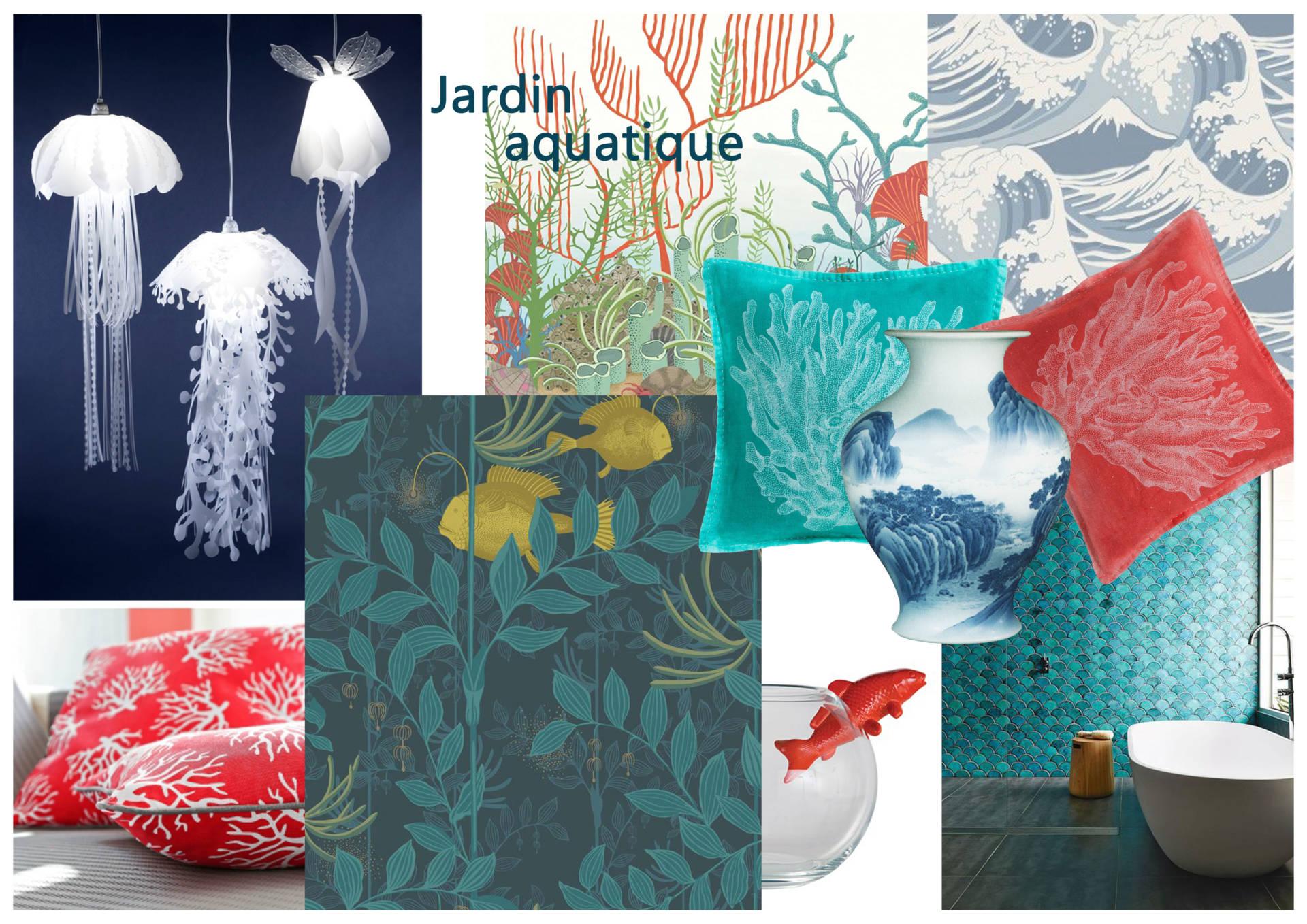 Moodboards Jardin aquatique par Anne Solenn Chérat, Décoratrice UFDI sur Lorient, Vannes, Pontivy.