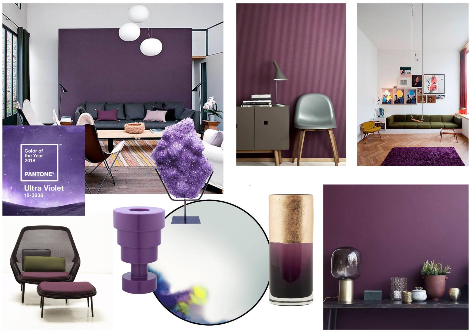 Planche tendance sur la tendance Ultra Violet par Anne Solenn Chérat, Décoratrice UFDI sur Lorient, Vannes, Pontivy
