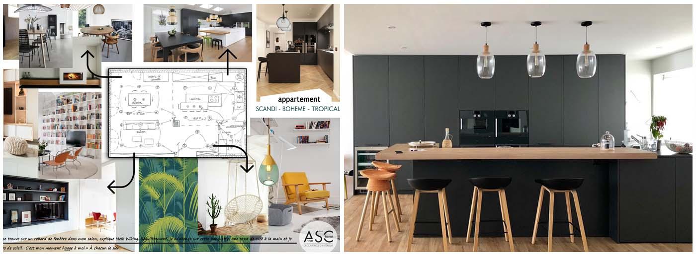 Appartement scandi bohème chic - cuisine par Leicht Design Lorient Vannes