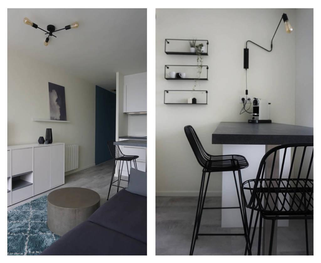 """Décoration Studio """"Graphic Minimal"""" à Larmor-Plage par Anne Solenn Chérat, Décoratrice UFDI sur Lorient, Vannes, Pontivy."""