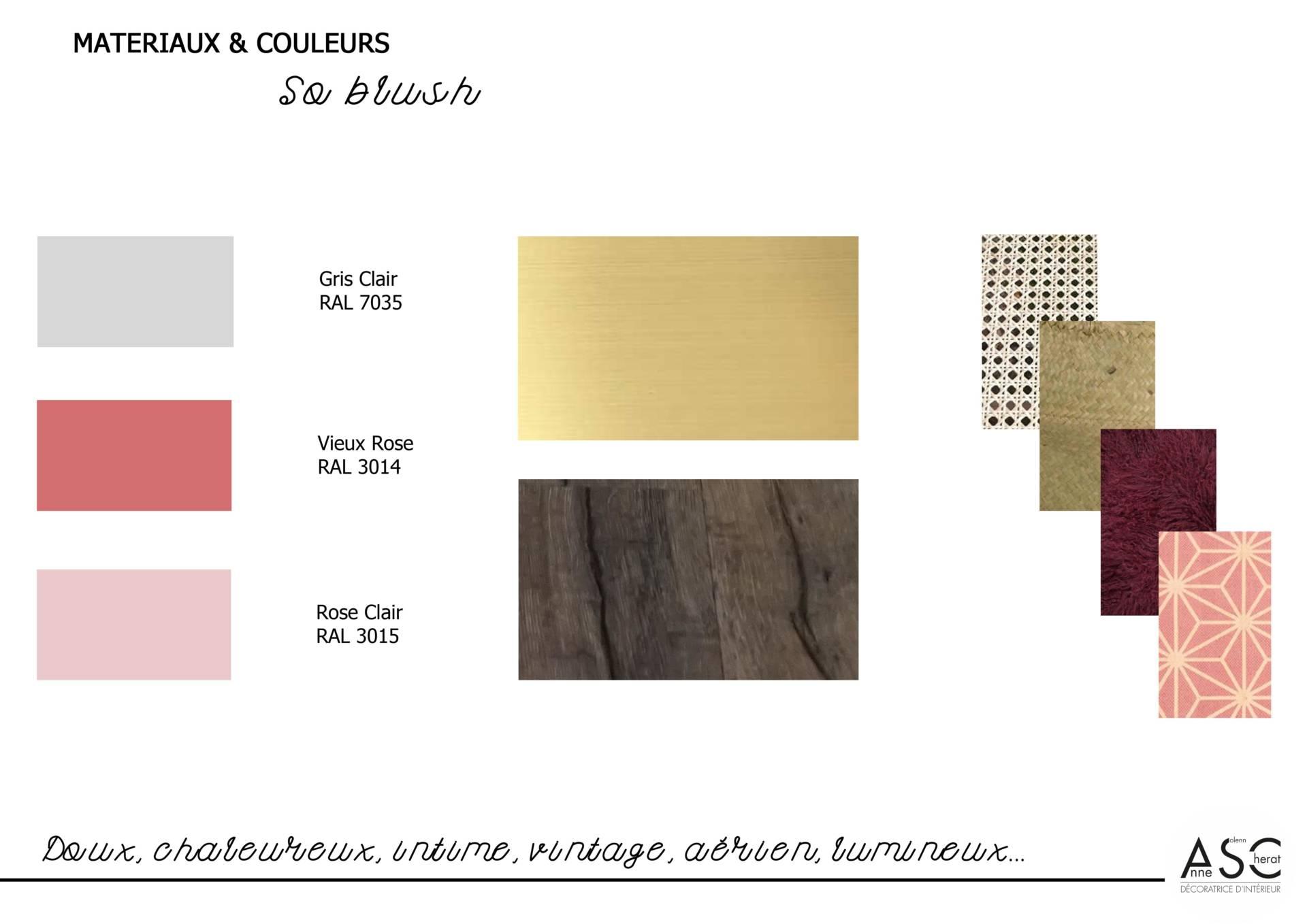 Chambre de petite fille par Anne Solenn Chérat, Décoratrice UFDI sur Lorient, Vannes, Pontivy : Matériaux et couleurs So Blush et vintage