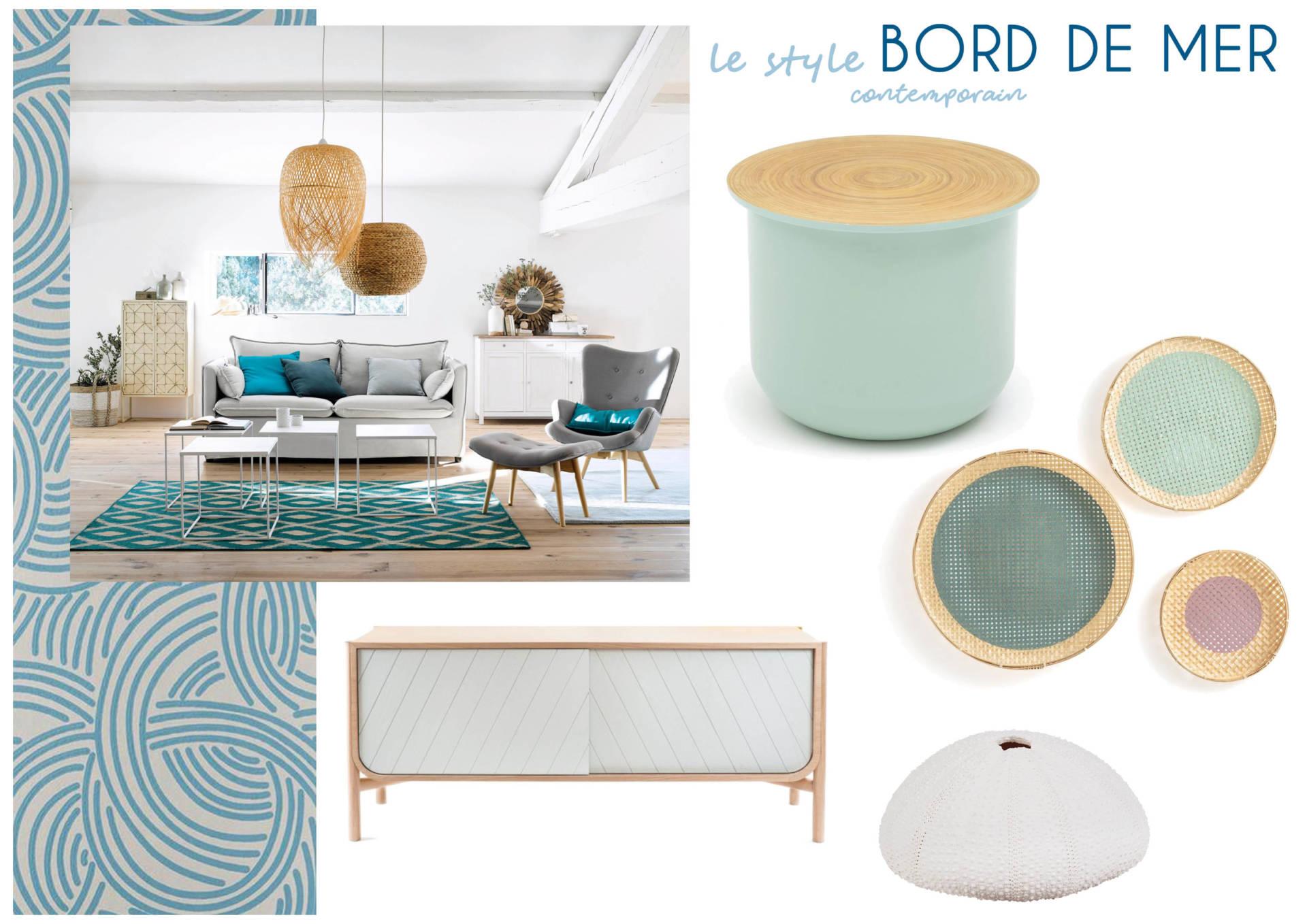 Moodboard Bord de mer - (Visite Conseil en Décoration par Anne Solenn Chérat, Décoratrice UFDI sur Lorient, Vannes, Pontivy