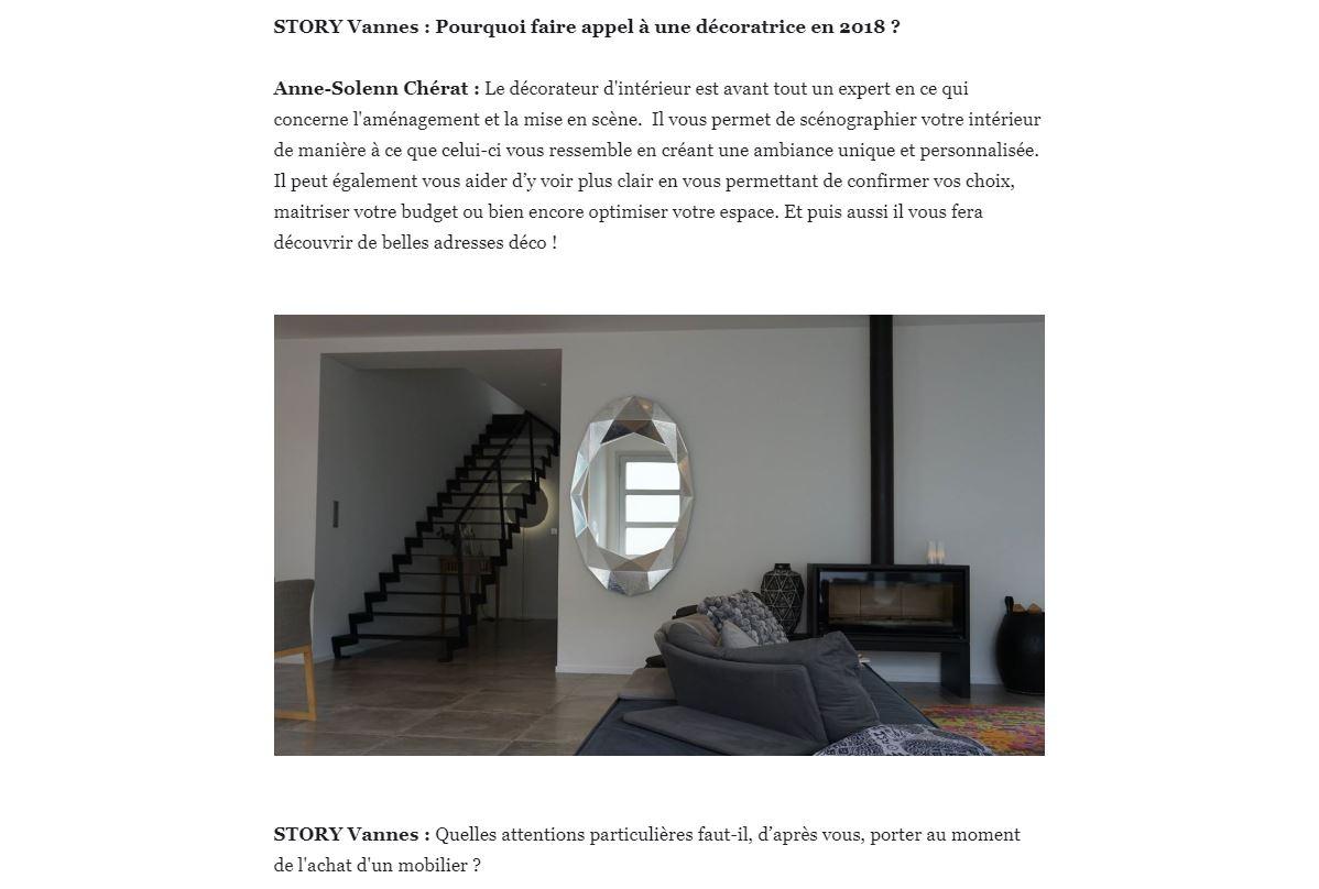Interview Anne-Solenn Cherat Décoratrice d'Interieur par Story Vannes