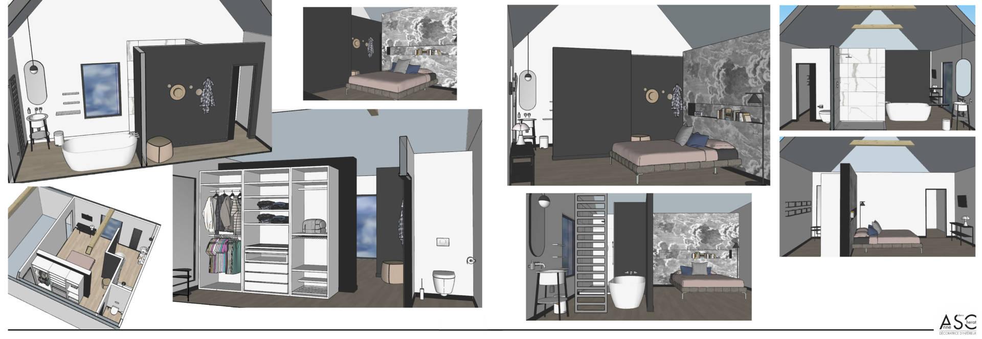 Visuels 3D pour une suite parentale à Belle en Mer par Anne Solenn Chérat, Décoratrice UFDI sur Lorient, Vannes, Pontivy