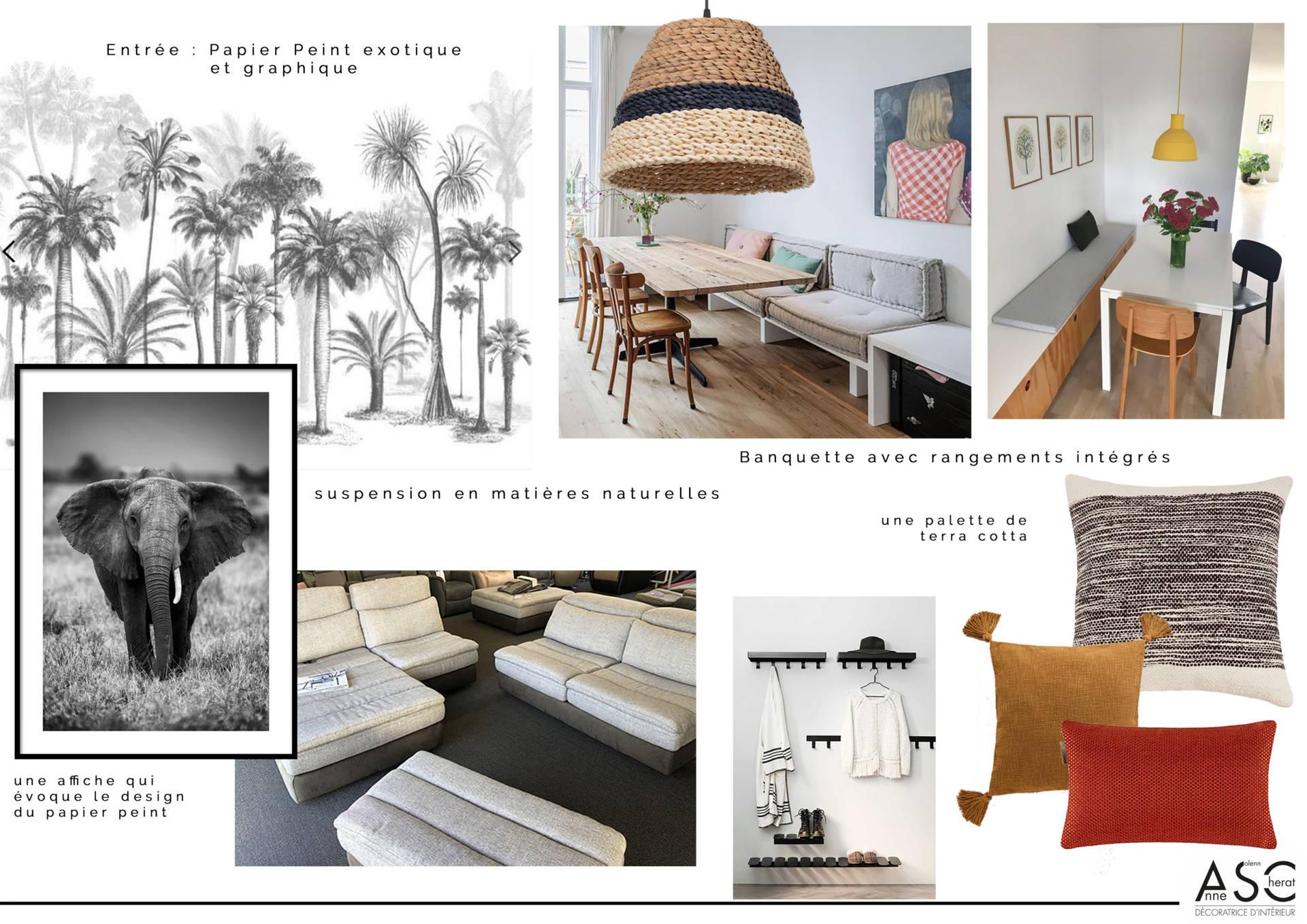 Planche de style en complément d'une visite conseil par ASC décoratrice d'intérieur en Bretagne Sud